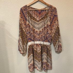 Eight Sixty graphic print lace trimmed dress large